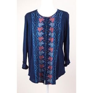 NWT Lucky Brand Navy Placed Print Blouse